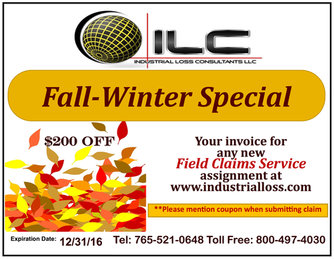 Industrial Loss Consultants, fall and winter special